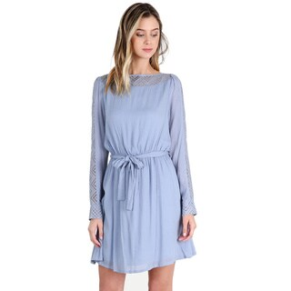 Nikibiki Women's Dusty Blue Rayon Chevron Lace Panel Dress