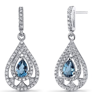 Oravo Sterling Silver 1-carat London Blue Topaz Chandelier Drop Earrings