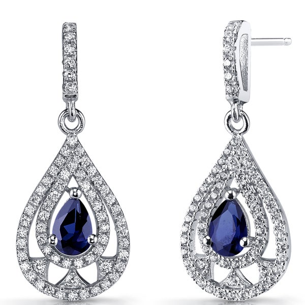 5e8b0816f Shop Oravo 1 carats Created Blue Sapphire Sterling Silver Chandelier Drop  Earrings - On Sale - Free Shipping Today - Overstock - 12635950