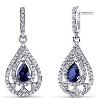 Oravo 1 carats Created Blue Sapphire Sterling Silver Chandelier Drop Earrings