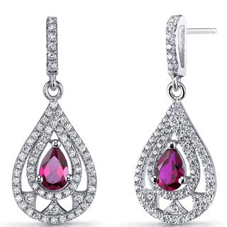 Oravo 1-carat Created Ruby Sterling Silver Chandelier Drop Earrings