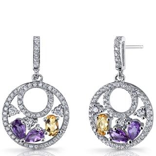 Oravo Women's Sterling Silver Amethyst and Citrine Double-hoop Dangle Drop Earrings