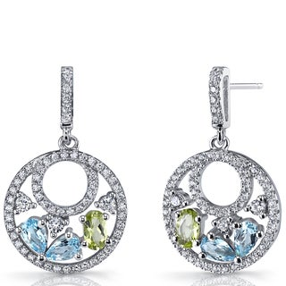 Oravo Sterling Silver Swiss Blue Topaz and Peridot Double Hoop Dangle Earrings