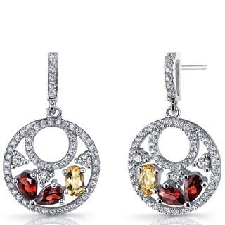 Oravo Sterling Silver Garnet and Citrine Double-hoop Dangle Earrings