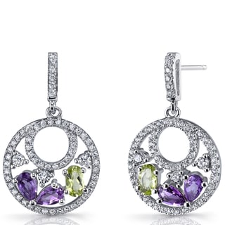 Oravo Sterling Silver, Amethyst, and Peridot Double-hoop Dangle Drop Earrings