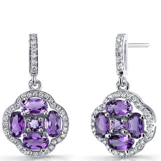 Oravo Sterling Silver Amethyst Clover Dangle Drop Earrings