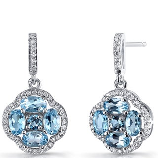 Oravo Sterling Silver Blue Topaz and Cubic Zirconia Clover Dangle Earrings