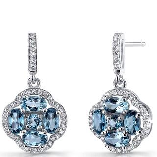 Oravo Sterling Silver London Blue Topaz Cubic Zirconia Clover Dangle Drop Earrings