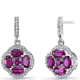 Oravo Women's Sterling Silver 2.25-carat Ruby Clover Dangle Drop Earrings