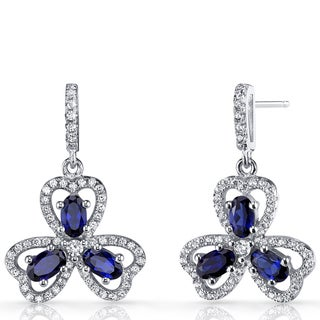 Oravo Sterling Silver 1.5-carat Created Blue Sapphire Trinity Earrings