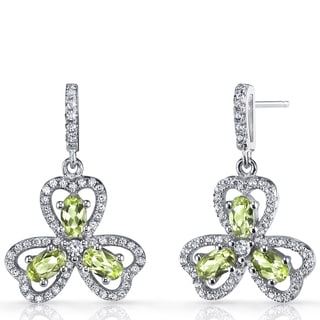 Oravo 1.5-karat Peridot Sterling Silver Trinity Earrings