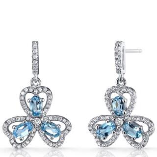 Oravo Sterling Silver 1.5-carat London Blue Topaz Trinity Earrings