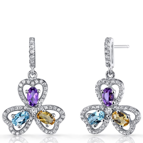 6b5acb031 Shop Oravo Sterling Silver Amethyst, Citrine, and Swiss Blue Topaz Trinity  Earrings - On Sale - Free Shipping Today - Overstock - 12635979