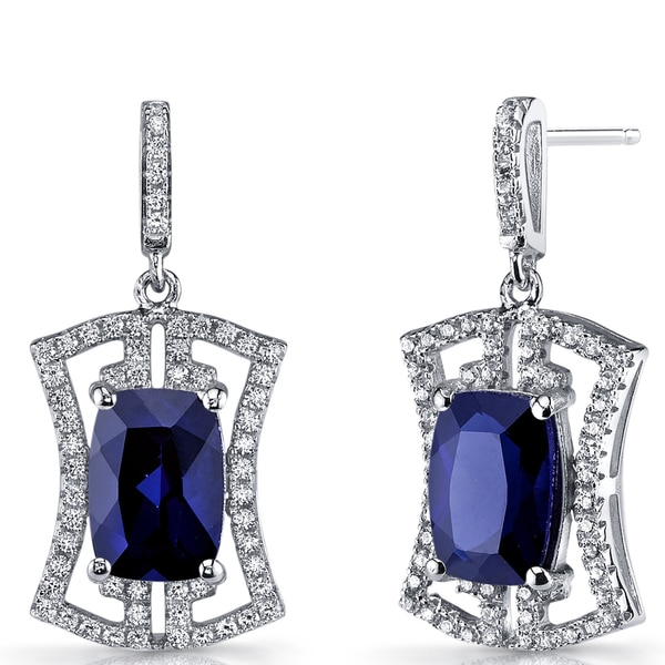 1d9ac8a81 Shop Oravo Women's Sterling Silver 6.5-carat Blue Sapphire Art Deco Drop  Earrings - On Sale - Free Shipping Today - Overstock - 12635980