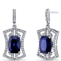 Oravo Women's Sterling Silver 6.5-carat Blue Sapphire Art Deco Drop Earrings