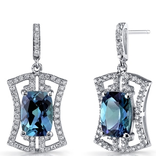 Oravo Sterling Silver 6.5-carat Simulated Alexandrite Art Deco Drop Earrings