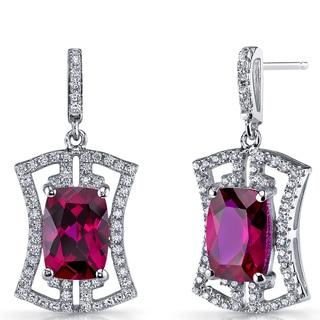 Oravo Women's Art Deco Sterling Silver 6.5-carat Ruby Drop Earrings