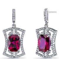 Oravo Women's Art Deco Sterling Silver 6.5-carat Ruby Drop Earrings