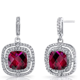 Oravo Sterling Silver Created Ruby and Cubic Zirconia Cushion Cut Dangle Earrings