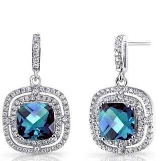 Oravo Sterling Silver 6-carat Simulated Alexandrite Cushion Cut Dangle Drop Earrings
