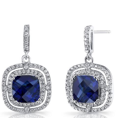 Oravo 6 carats Created Blue Sapphire Sterling Silver Cushion Cut Dangle Drop Earrings