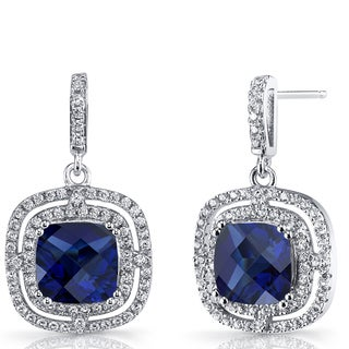 Oravo 6 carats Created Blue Sapphire Sterling Silver Cushion Cut Dangle Drop Earrings