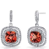 Oravo Sterling Silver 6-carat Created Padparadscha Cushion Cut Dangle Drop Earrings