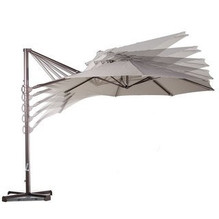 Abba Tan Olefin Aluminum Cantilever Tilt Crank 11-Foot Outdoor Patio Umbrella