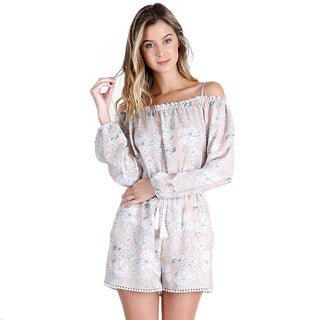 Nikibiki Women's Mauve Pink Off-shoulder Summer Floral Romper