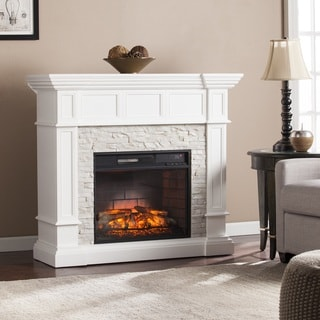 Charmant Harper Blvd Reese White Faux Stone Corner Convertible Infrared Electric  Fireplace