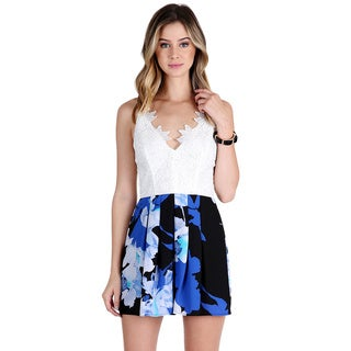 Nikibiki Women's White/Blue Polyester Floral Print Romper with Lace Top