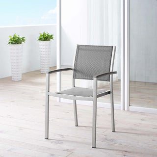 Modway Shore Black Mesh and Aluminum Outdoor Patio Dining Chair
