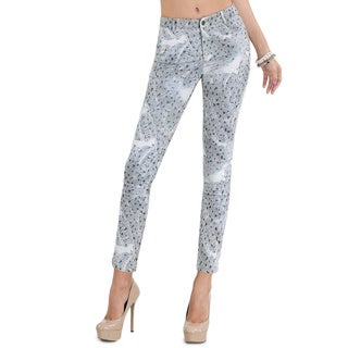 Nikibiki Women's Grey Polyester and Spandex Geo-pattern Denim Skinny Pants