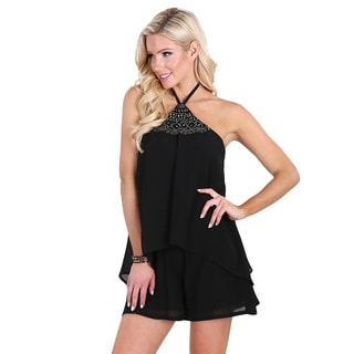 Nikibiki Women's Black Beaded-neck Halter-tie Layered Romper