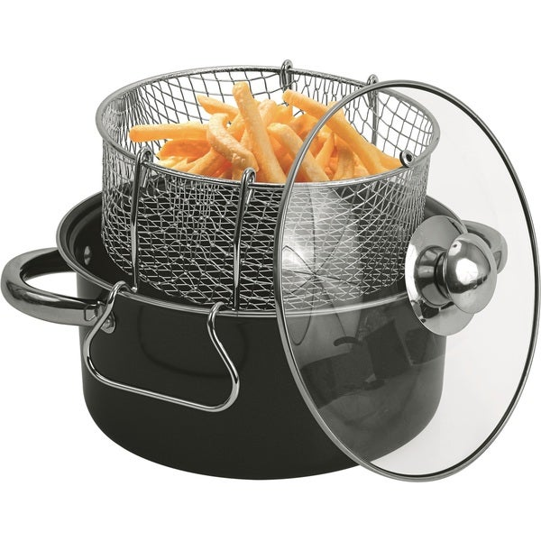 Shop Black Carbon Steel 4 5 Quart Non Stick Deep Fryer Set