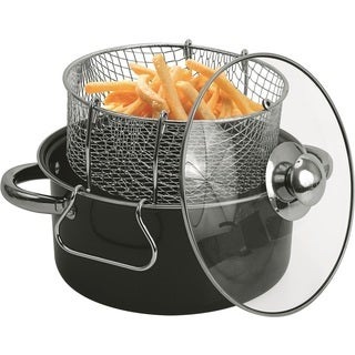 Black Carbon Steel 4.5-quart Non-stick Deep Fryer Set