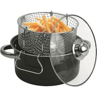 Black Carbon Steel 4.5-quart Non-stick Deep Fryer Set