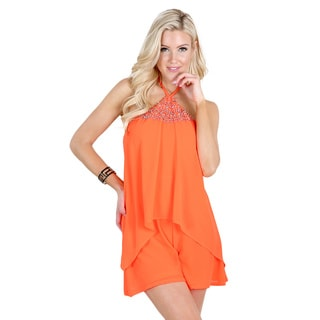Nikibiki Women's Orange Polyester Beaded-neck Halter-tie Layered Romper