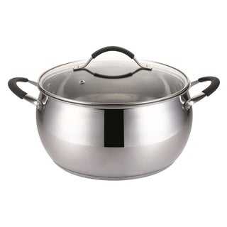Stainless Steel 8.5-quart Stock Pot With Glass Lid and Silicone Handle Grips