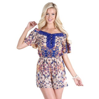 Nikibiki Women's Orange/Royal Blue Strap Off Shoulder Print Romper