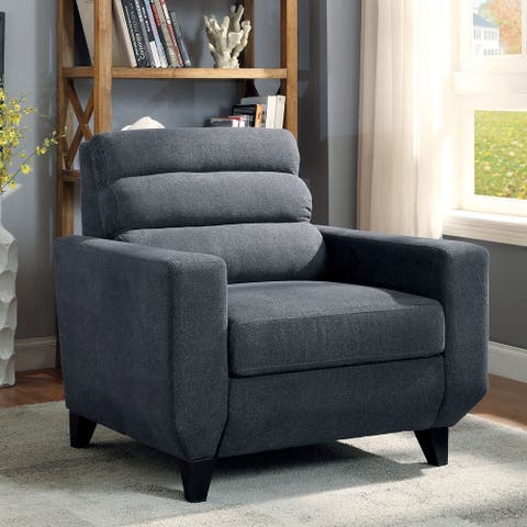 Furniture of America Braz Contemporary Grey Linen Padded Armchair