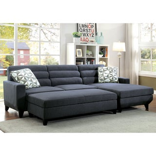 Furniture of America Brixon Contemporary 2-piece Dark Grey Padded Fabric Sectional and Ottoman Set