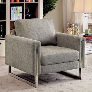 Furniture of America Madrid Contemporary Pewter Chenille Upholstered Arm Chair