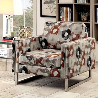 Furniture of America Madrid Contemporary Abstract Patterned Chenille Upholstered Arm Chair