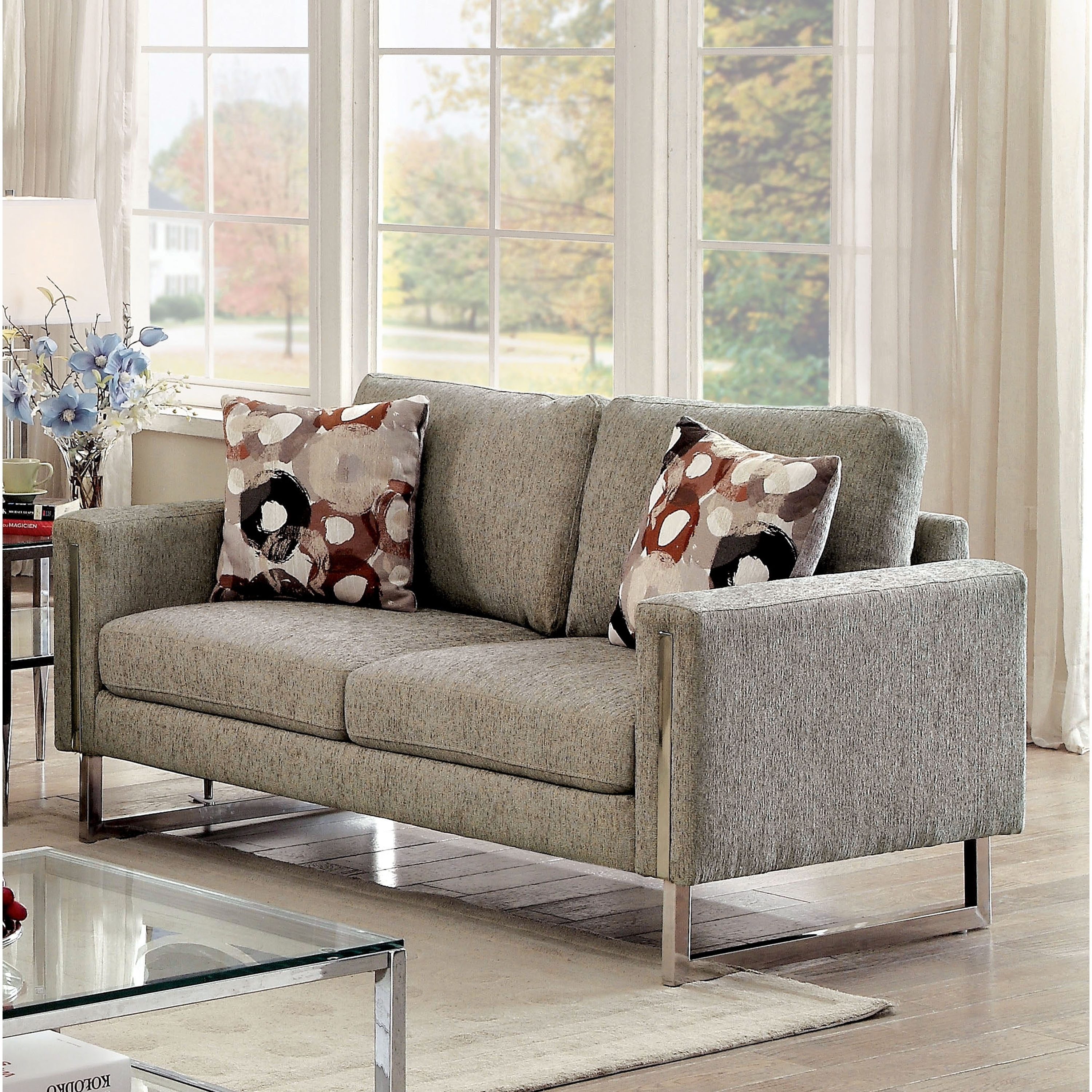 Furniture of America Madrid Contemporary Pewter Chenille ...