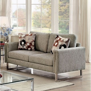 Furniture of America Madrid Contemporary Pewter Chenille Upholstered Loveseat