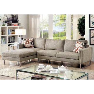 Furniture of America Madrid Contemporary Pewter Chenille Upholstered L-Shaped Sectional