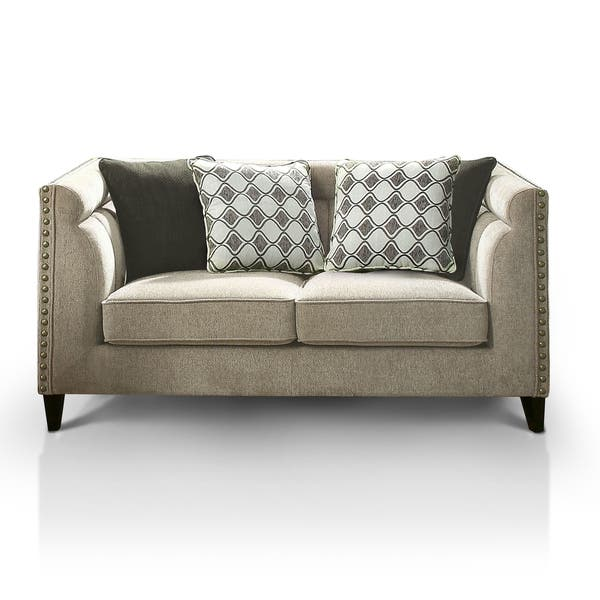 Fantastic Furniture Of America Luxden Contemporary Tuxedo Style Brown Linen Like Loveseat Caraccident5 Cool Chair Designs And Ideas Caraccident5Info