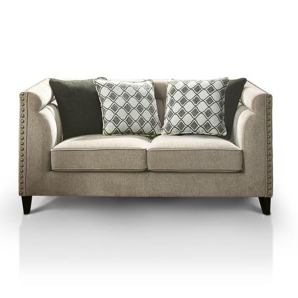 Strange Furniture Of America Luxden Contemporary Tuxedo Style Brown Linen Like Loveseat Customarchery Wood Chair Design Ideas Customarcherynet