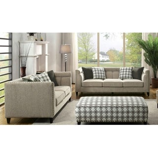 Furniture of America Luxden Contemporary 2-piece Tuxedo Style Brown Linen-like Sofa Set